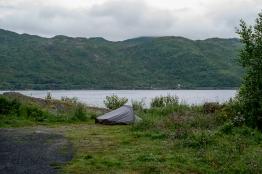 La mia tenda nell'area campeggio nei pressi del monumento alla battaglia di Narvik